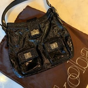 Kooba Black Patent Leather Hobo Bag